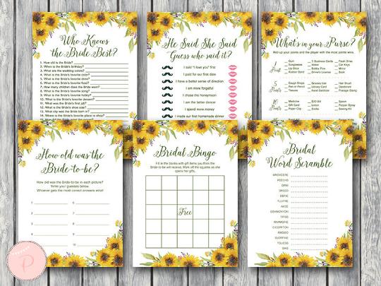 sunflower summer bridal shower games package