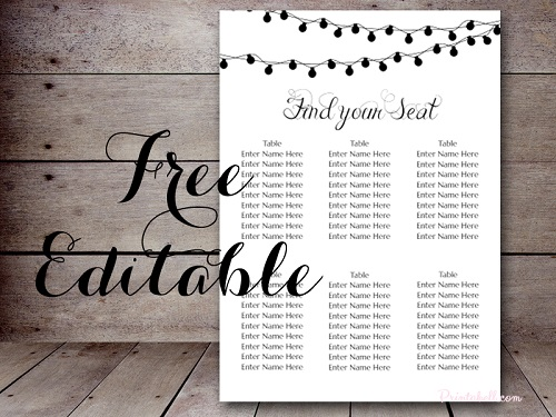 Free Editable Floral Wedding Seating Chart  Free Wedding Seating Chart Templates