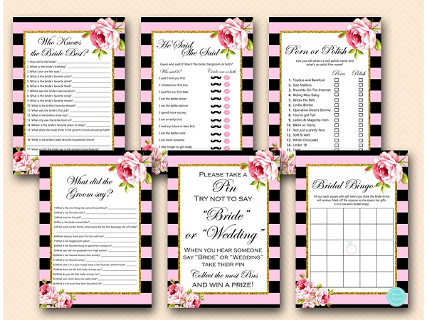 pink and gold bridal shower games