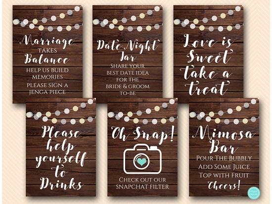 Rustic Night Lights Wedding Shower Decoration Printable Signs