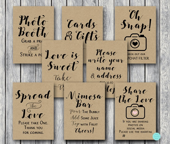 Rustic Wedding Shower Table Signs Bride Bows